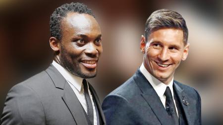 Michael Essien dan Lionel Messi - INDOSPORT