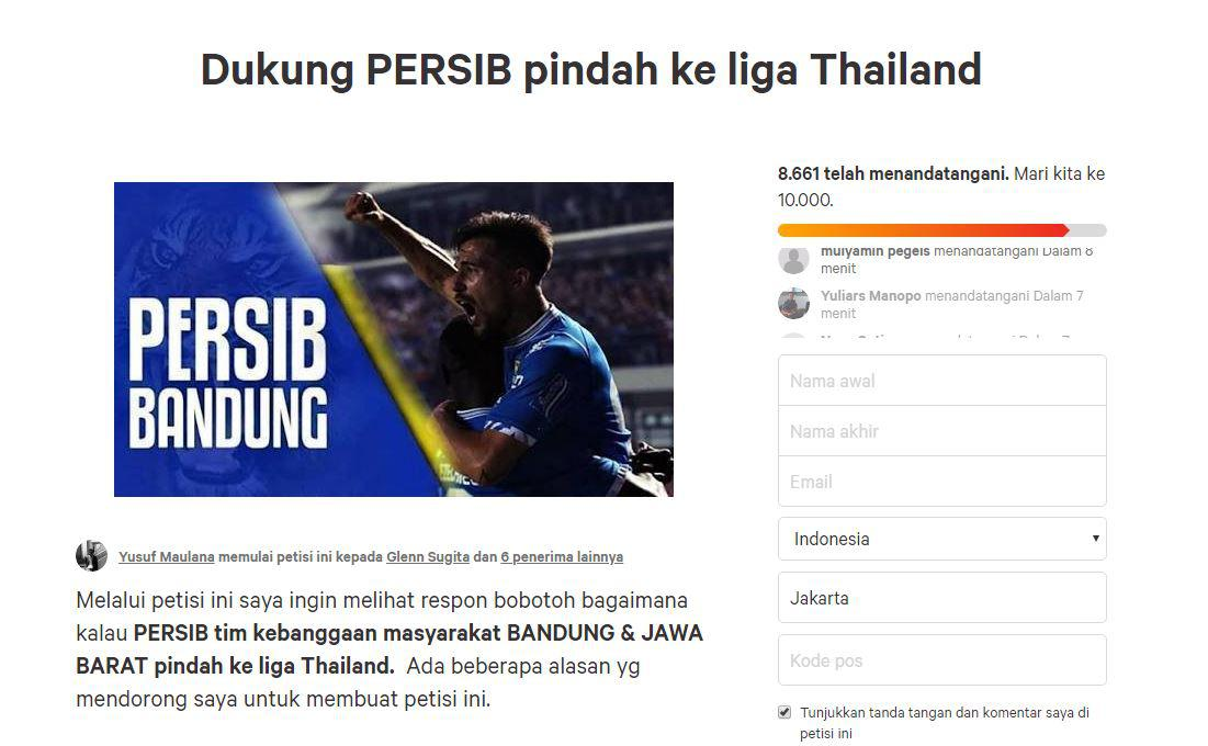 Petisi Persib Bandung ke Liga Thailand Copyright: Change.org