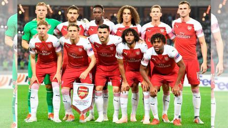 Skuat Arsenal saat melawan Qarabag di Liga Europa, Kamis (04/10/18). - INDOSPORT