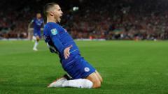 Indosport - Bintang Chelsea, Eden Hazard, ketika sedang merayakan golnya.