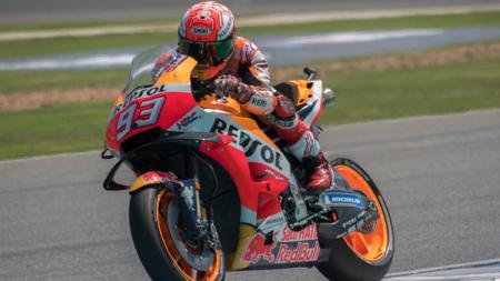 Aksi Marc Marquez, pembalap MotoGP. - INDOSPORT