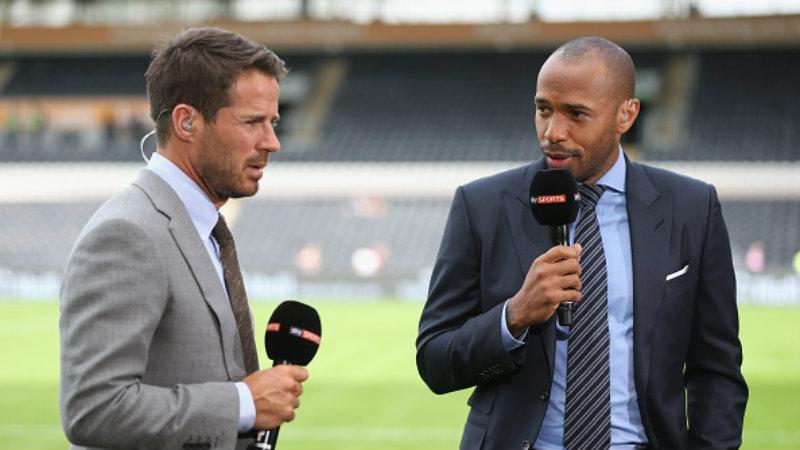 Jamie Redknapp (kiri) dan Thierry Henry saat menjadi pandit di Sky Sports. Copyright: INDOSPORT