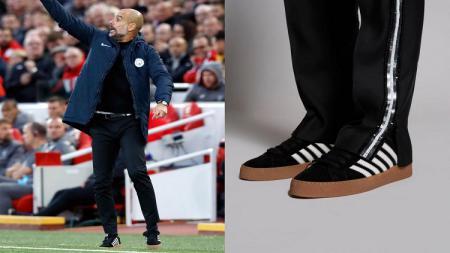 Pep Guardiola mengenakan sepatu modis - INDOSPORT