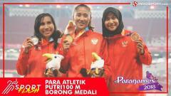 Indosport - Aulia Putri, Putri Ni Made Arianti, dan Endang Sari Sitorus meraih emas, perak, dan perunggu pada Asian Para Games 2018 nomor lari 100 meter putri.