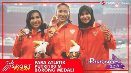 Aulia Putri, Putri Ni Made Arianti, dan Endang Sari Sitorus meraih emas, perak, dan perunggu pada Asian Para Games 2018 nomor lari 100 meter putri. - INDOSPORT
