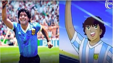 Diego Maradona dan Juan Diaz. - INDOSPORT