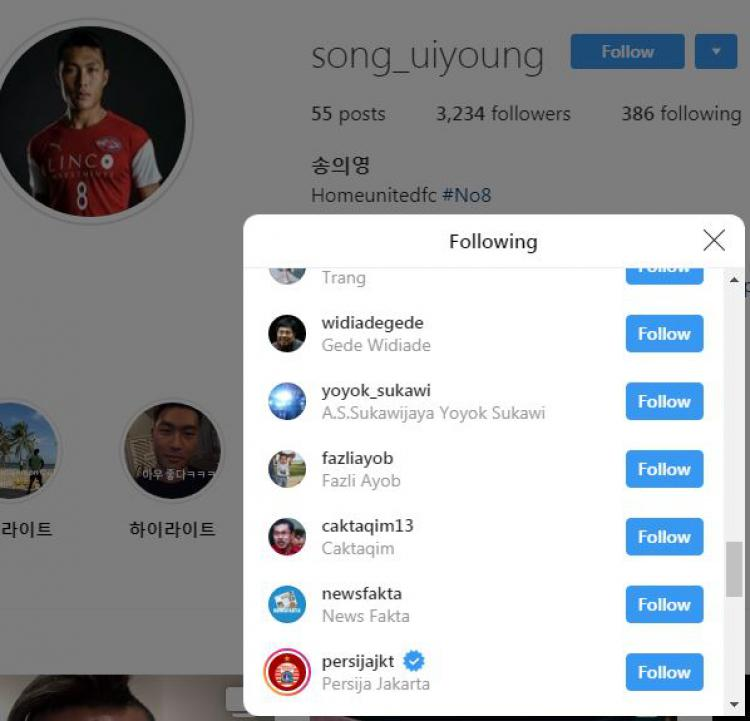 Pesepak bola asal Korea Selatan, Song Ui-young, follow akun Instagram Persija Jakarta. Copyright: Instagram/song_uiyoung