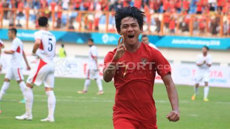 Selebrasi pemain Timnas Indonesia U-19, Firza Andika usai menjebol gawang Timnas Yordania U-19. - INDOSPORT