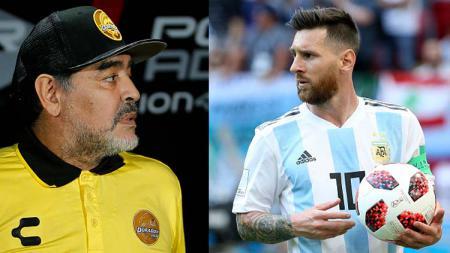 Diego Maradona dan Lionel Messi. - INDOSPORT
