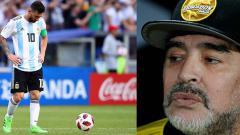 Indosport - Lionel Messi dan Diego Maradona, pemain bintang dan legenda Timnas Argentina.