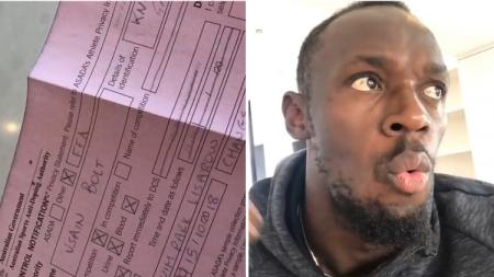 Usain Bolt menunjukkan dokumen tes dopingnya di Australia. - INDOSPORT