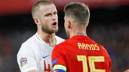 Eric Dier dan Sergio Ramos saat pertandingan Spanyol vs Inggris, Senin (15/10/18). - INDOSPORT