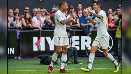 Kylian Mbappe (kiri) dan Angel Di Maria, 2 bintang PSG. - INDOSPORT