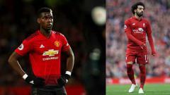 Indosport - Paul Pogba (kiri) bintang Man United dan Mohamed Salah, bintang Liverpool.