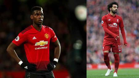 Paul Pogba (kiri) bintang Man United dan Mohamed Salah, bintang Liverpool. - INDOSPORT