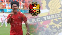 Indosport - Firza Andika dan logo Tubize.