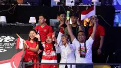Indosport - Pendukung Indonesia di Denmark Open 2018.