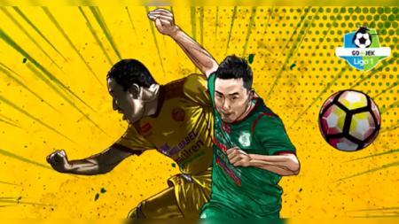 Ilustrasi Yu Hyunkoo (Sriwijaya FC) vs Marcel Sacramento (PSMS Medan) di Liga 1 2018, Kamis (18/10/18). - INDOSPORT
