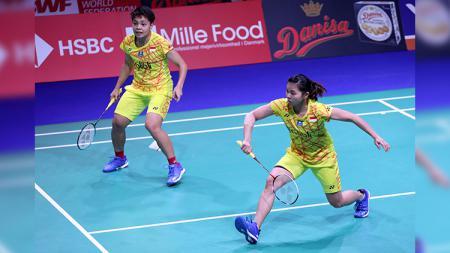 Pasangan ganda putri Indonesia, Greysia Polii/Apriyani Rahayu saat tampil di babak kedua Danisa Denmark Open 2018. - INDOSPORT