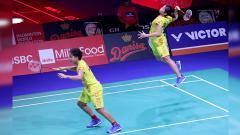 Indosport - Pasangan ganda putri Indonesia, Greysia Polii/Apriyani Rahayu saat tampil di babak kedua Danisa Denmark Open 2018.