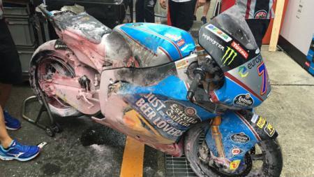 Kondisi parah motor Alex Marquez habis kecelakaan. - INDOSPORT