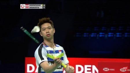 Kevin Sanjaya saat tampil di semifinal Denmark Open 2018 melawan Mohammad Ahsan/Hendra Setiawan - INDOSPORT