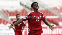 Indosport - Selebrasi pemain UEA U-19, Ahmad Fawzi Abdalla usai mencetak gol ke gawang China Taipe U-19.