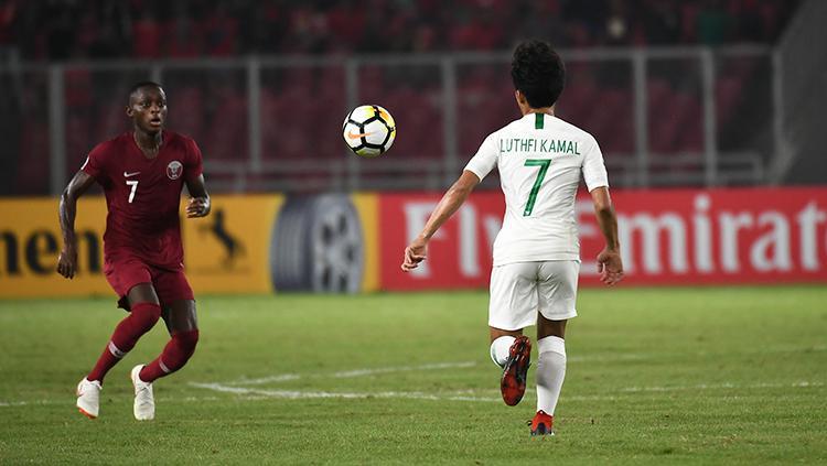 Muhammad Luthfi Kamal pencetak satu gol saat melawan Qatar U-19. Copyright: AFC