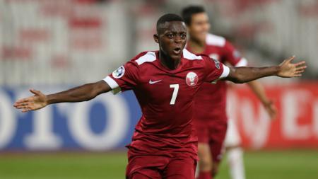 Selebrasi Pemain Timnas Qatar U-19, Abdulrasheed Umaru - INDOSPORT