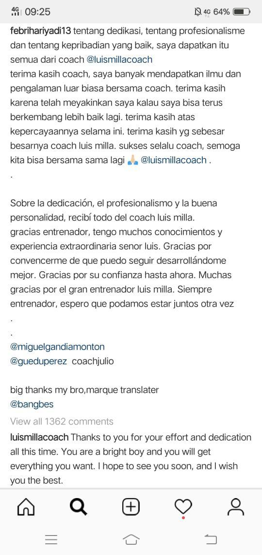 Luis Milla membalas pesan Febri Haryadi di instagram Febri Copyright: Instagram/@febrihariyadi13