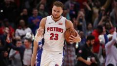 Indosport - Blake Griffin selebrasi dalam laga NBA Detroit Pistons vs Philadelphia 76ers.