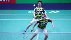 Indosport - Kevin Sanjaya/Marcus Gideon di French Open 2018.