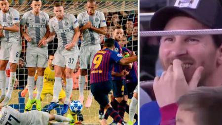 Aksi Marcelo Brozovic saat menghalau tendangan bebas Luis Suarez. - INDOSPORT