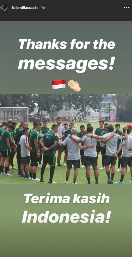 Luis Milla mengucapkan terima kasih kepada publik Indonesia atas dukungannya melalui Instastory. Copyright: Instagram/@luismillacoach