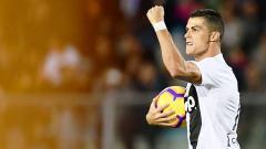 Indosport - Cristiano Ronaldo berselebrasi usai mencetak gol ke gawang Empoli.