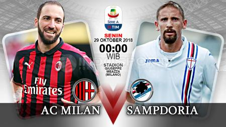Pertandingan AC Milan vs Sampdoria di Liga Italia, Senin (29/10/18) ini hari. - INDOSPORT