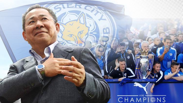 Vichai Srivaddhanaprabha dan Leicester City saat merayakan juara Liga Inggris 2015/16. Copyright: INDOSPORT