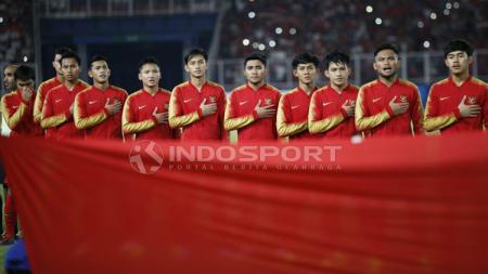 Timnas Indonesia U-19 pada putaran final Piala Asia U-19 2018. - INDOSPORT