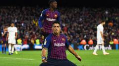 Indosport - Luis Suarez berselebrasi usai mencetak gol ke gawang Real Madrid di pekan ke-10 La Liga 2018/19.