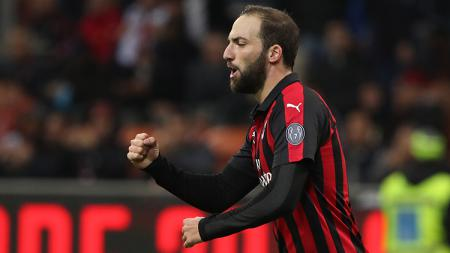 Gonzalo Higuain berselebrasi usai mencetak gol ke gawang Sampdoria. - INDOSPORT