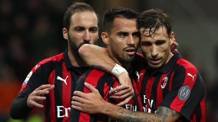 Suso (tengah) berselebrasi usai mencetak gol ke gawang Sampdoria. - INDOSPORT