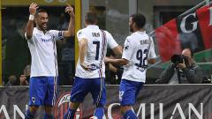 Indosport - Fabio Quagliarella berselebrasi usai mencetak gol ke gawang AC Milan.