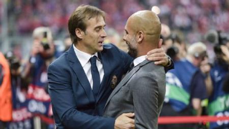 Julen Lopetegui (kiri) eks pelatih Real Madrid yang kini tukangi Sevilla menolak tawaran jadi pelatih Tottenham Hotspur pada bursa transfer kali ini. - INDOSPORT