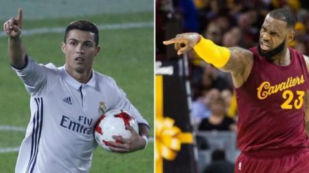Cristiano Ronaldo dan LeBron James saat masih membela klub lama mereka. - INDOSPORT