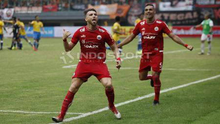 Marko Simic merayakan gol ke gawang Barito Putera - INDOSPORT