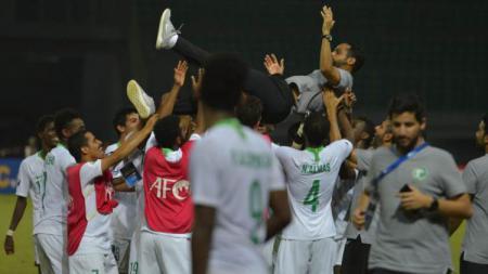 Selebrasi Timnas U-19 Arab Saudi saat mengalahkan Australia di Semifinal Piala Asia U-19 2018 - INDOSPORT