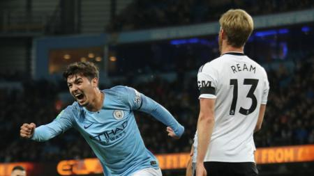 Brahim Diaz berselebrasi usai mencetak gol ke gawang Fulham. - INDOSPORT
