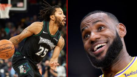 Bintang basket Minnesota Timberwolves, Derrick Rose dan LeBron James, pemain megabintang LA Lakers. - INDOSPORT