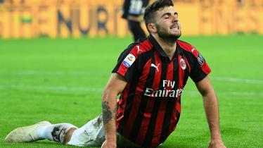 Patrick Cutrone saat tampil membela AC Milan melawan Udinese.