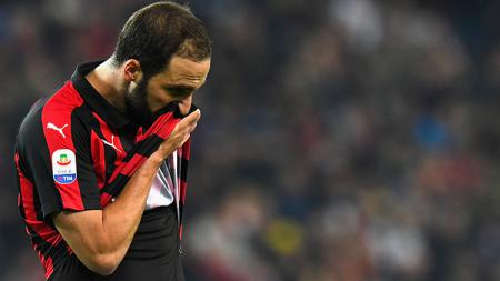 Gonzalo Higuain saat tampil membela AC Milan melawan Udinese. - INDOSPORT